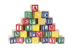 houten alfabetblokken Stock Afbeeldingen
