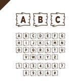 Houten alfabetblokken met letters en getallen op houten textuurgebied met overzicht ABC-doopvont voor uw tekstbericht, titel of e Stock Afbeelding