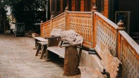 Houten archaïsch stoel Stock Afbeelding