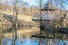 Houten as door de vijver in het Oekraïense dorp royalty-vrije stock foto