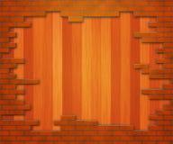 Houten Bakstenen muur royalty-vrije illustratie