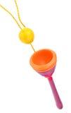Houten bal in kopstuk speelgoed Stock Fotografie