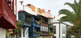 Houten balkons (La Palma, Canarische Eilanden) - Panorama Royalty-vrije Stock Foto