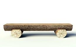 Houten bank die van boomboomstammen wordt gemaakt Royalty-vrije Stock Afbeelding