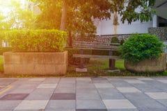 Houten bank in een park met struiken en zonsonderganggloed Stock Afbeeldingen