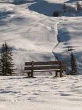 Houten Bank onder Verse Sneeuw in de Winter Sunny Day in het Italiaans Dolomietbergen Stock Afbeeldingen