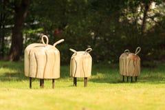 Houten banken voor jonge geitjes Stock Foto