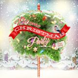 Houten banner met Kerstmis bont-Boom takken Stock Fotografie