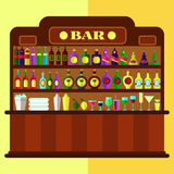 Houten bar met alcohol stock illustratie