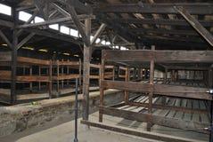 Houten bedden in barak, concentratiekamp Birkenau Stock Afbeeldingen