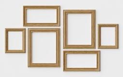 Houten beeld of fotokaders op witte muur met schaduwen vector illustratie