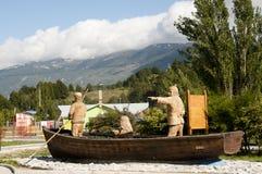 Houten Beeldhouwwerk - Rio Tranquilo - Chili Stock Afbeelding