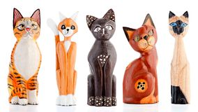 Houten beeldjes, decoratieve beeldjes, katten, royalty-vrije stock foto