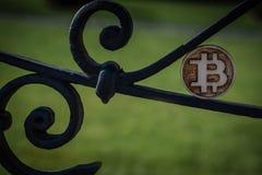 Houten Beetjemuntstuk op staal roestige oude omheining in een zon royalty-vrije stock afbeeldingen