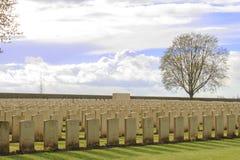 Houten Begraafplaats grote wereldoorlog één Vlaanderen België royalty-vrije stock afbeeldingen