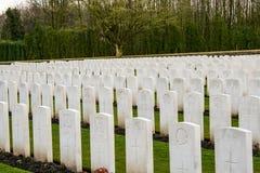 Houten Begraafplaats grote wereldoorlog één Vlaanderen België Stock Afbeelding