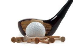 Houten Bestuurder met Golfbal en T-stukken Stock Foto's