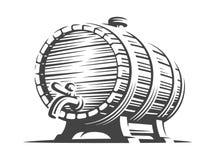 Houten biervat - vectorillustratie, ontwerp Stock Afbeeldingen