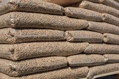 Houten biomassa in zakken royalty-vrije stock afbeelding