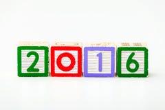 Houten blok voor jaar 2016 Stock Afbeelding