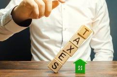 Houten blokken met de daling van woordbelastingen op een miniatuurhuis Het concept de belastingdruk op huisvesting, flat, bezit stock afbeelding