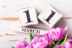 Houten Blokken met de Datum van de Moedersdag, 11 Maart Royalty-vrije Stock Afbeelding
