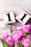 Houten Blokken met de Datum van de Moedersdag, 11 Maart Royalty-vrije Stock Foto's