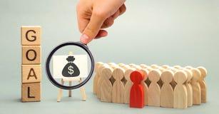 Houten blokken met het woorddoel, het geld en het commerciële team Bedrijfs concept Samenwerking en groepswerk Het verbeteren van royalty-vrije stock afbeelding