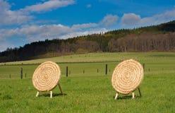 Houten boogschietenbasis Mady van stro in het platteland Stock Foto's