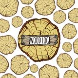 Houten boomstammenachtergrond, het bruine logboek van de cirkelboom vector illustratie