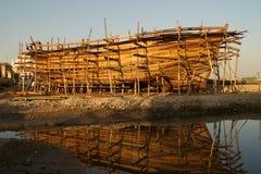 Houten boot in aanbouw Stock Foto's