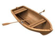 Houten boot die op wit wordt geïsoleerde Stock Afbeelding