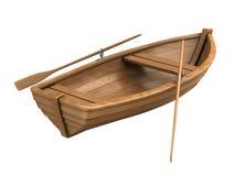 Houten boot die op wit wordt geïsoleerdt Royalty-vrije Stock Fotografie