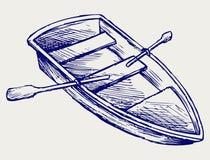 Houten boot met peddels royalty-vrije illustratie