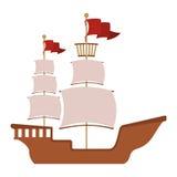 Houten boot met rode vlag stock illustratie