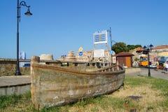 Houten boot, Nessebar, Bulgarije stock afbeeldingen