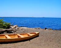 Houten Boot op Meer Erie royalty-vrije stock foto's
