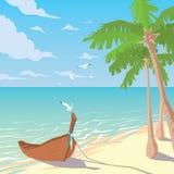 Houten boot op zandig strand met palmen Royalty-vrije Stock Afbeeldingen