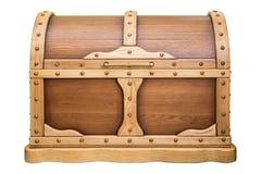 Houten borst met gesloten deksel, houten die eik, op witte achtergrond wordt geïsoleerd royalty-vrije stock foto's