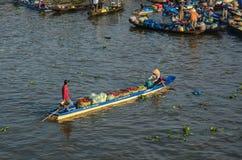 Houten boten op Mekong Rivier royalty-vrije stock foto's