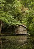 Houten botenhuis en meer Royalty-vrije Stock Afbeelding