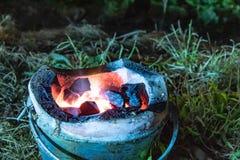 Houten brandhout in de oven op het gras royalty-vrije stock foto