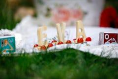 Houten brieven van de naamvooravond die zich op een wit tafelkleed, op het groene gras bevinden stock afbeeldingen