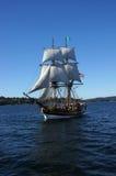 Houten brig, Dame Washington, zeilen op Meer Washington Stock Afbeeldingen