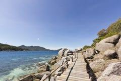 Houten brug bij eiland Nangyuan Royalty-vrije Stock Foto's
