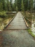 Houten brug dichtbij Jenny Lake in het Nationale Park van Grand Teton stock fotografie