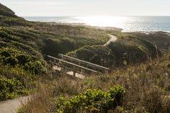 Houten brug op een weg tussen struiken bij schemer op Speciaal de Rentegebied van Kaapperpetua stock afbeeldingen