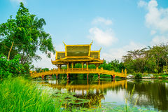 Houten brug in Oude Stad Samut Prakan Royalty-vrije Stock Foto