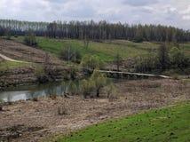 Houten brug over de rivier Royalty-vrije Stock Foto's
