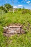 Houten brug over het moeras stock afbeelding